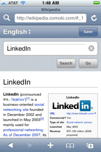 iPhone's Wikipedia Web App