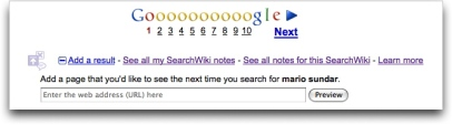 Google SearchWiki - Adding URLs