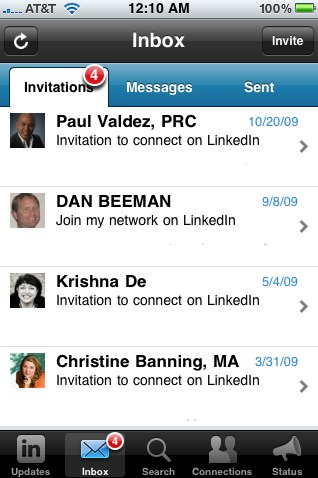 LinkedIn iPhone app v1.5 Invitations screen