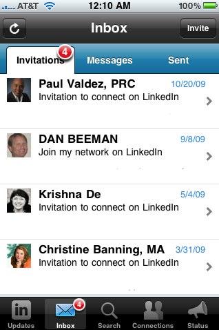 LinkedIn iPhone app v1.5 Invitations screen